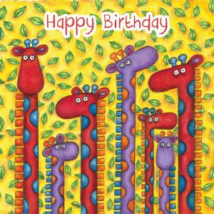Giraffes Birthday Card With Googly Eyes TW273